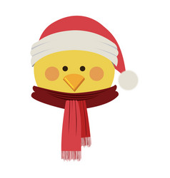 silhouette of chicken face with scarf and vector image