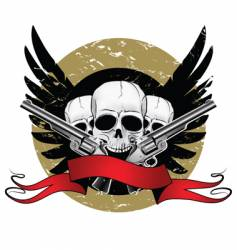 skulls with pistols vector image vector image