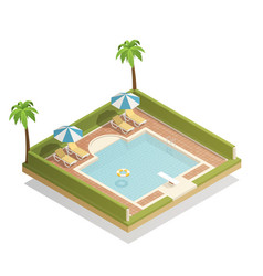 swimming pool outdoor isometric composition vector image vector image