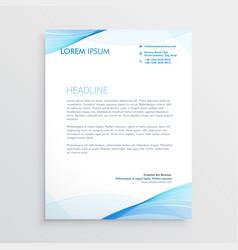 Abstract blue wavy shape letterhead design vector