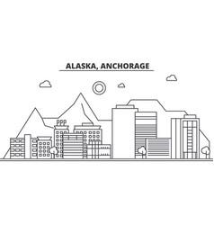 alaska anchorage architecture line skyline vector image