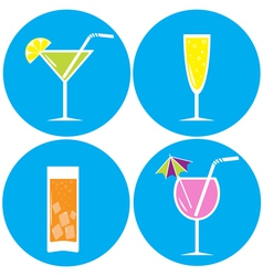 Set of drinks cocktails Icons vector image