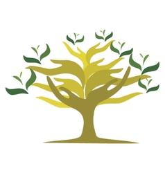 Tree of open hands vector image vector image