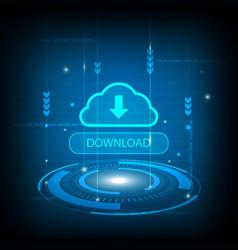 abstract download cloud circle digital technology vector image vector image