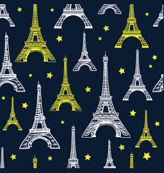 black white and yellow eiffel tower vector image vector image