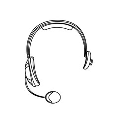 monochrome silhouette of hands free headset icon vector image