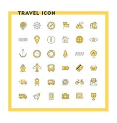 Travel and transportation flat design icon set vector image