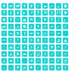100 trophy and awards icons set grunge blue vector