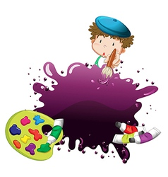 A young boy painting vector image