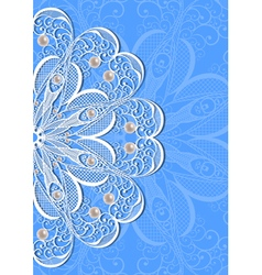 Abstract lacy ornament with pearls vector