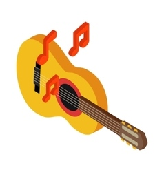 Acoustic guitar icon isometric 3d style vector