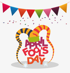 april fools day hat joker penant confetti vector image
