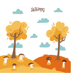 autumn yellow landscape with trees mushrooms vector image