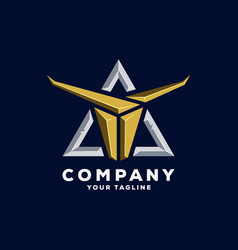 Awesome triangle horn logo design vector