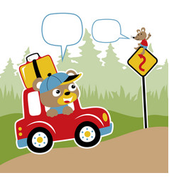 bears journey with red car cartoon vector image
