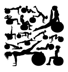 beautiful woman doing fitness silhouettes vector image