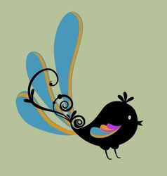 Bird with swirl vector