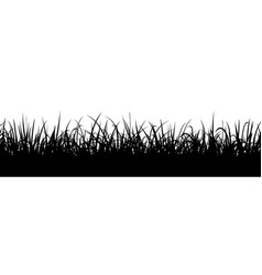 black grass silhouette seamless meadow border vector image