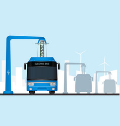 blue electric bus vector image
