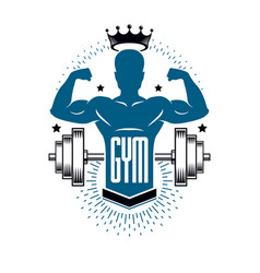 Bodybuilding weightlifting gym logotype sport vector