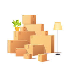 box carton closed cardboard packages cargo vector image