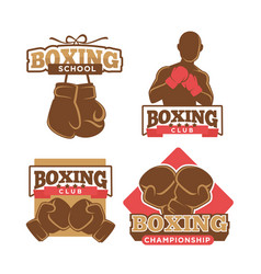 boxing club colorful logo label set on white vector image