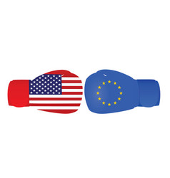 boxing gloves with usa and eu flags vector image