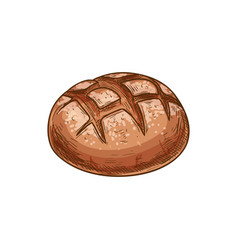 Bread loaf sketch icon bakery product vector