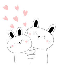 bunny couple barabbit hare hugging family vector image