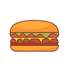burger icon fast food vector image