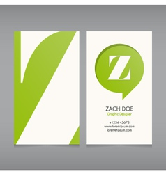 Business card template letter Z vector image
