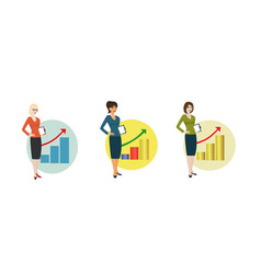 businesswoman on background of graph showing vector image