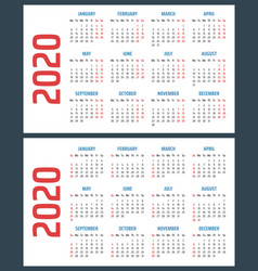 calendar for 2020 starts sunday and monday vector image