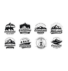 camping climbing logo or label hiking trip hike vector image
