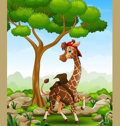 cartoon giraffe in a bag and cap in the jungle vector image