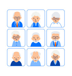 cartoon old people avatars symbols senior people vector image