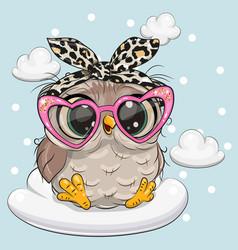 Cartoon owl in pink glasses on cloud vector