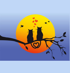 Cats on tree branch vector