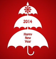 Christmas Card with Umbrellas vector image