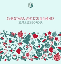 Christmas seamless border Christmas icons vector image