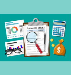 clipboard with balance sheet and pen vector image