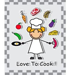 cook and different food vector image