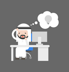 Cute arab businessman have burn out because no vector