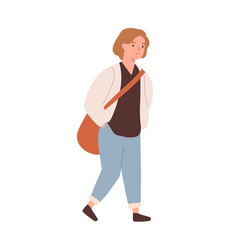 cute pupil girl with bag going to elementary vector image