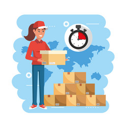 Delivery woman with boxes packages service and vector