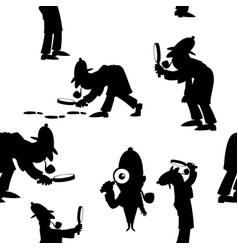detective silhouettes pattern vector image