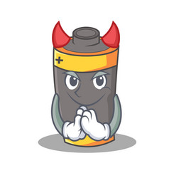 Devil battery mascot cartoon style vector