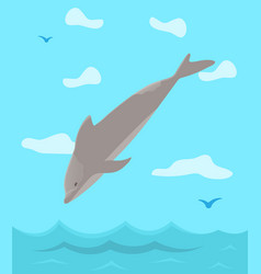 Dolphin jumping out water column wildlife vector