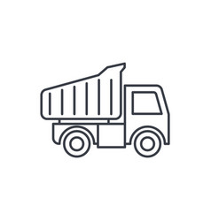Dump truck thin line icon linear symbol vector