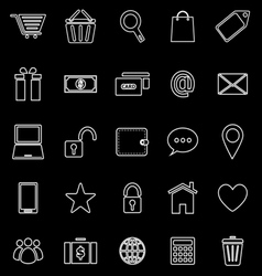 Ecommerce line icons on black background vector